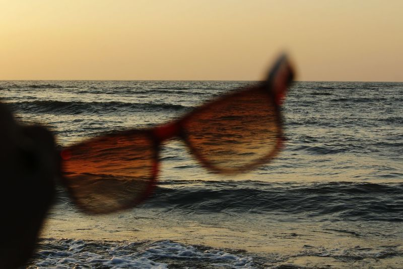 Vacations Travel Wanderlust Glares Glasses Goggles Tranquil Scene Filter Landscape Eco Tourism Harbour Waves Sand Sunset Sea Beach Shadow Outdoors Sky Horizon Over Water Sunglasses People Nature Day Tranquility