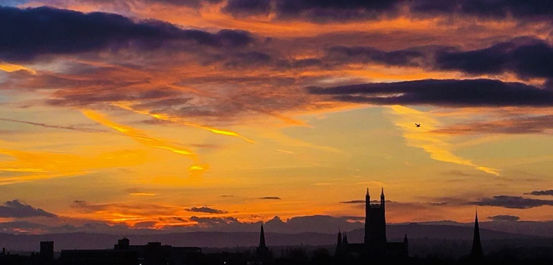 Gloucester Cathedral at sunset Sky Sunset Cloud - Sky Nature Silhouette No People Beauty In Nature Orange Color Scenics Dramatic Sky Built Structure Architecture Outdoors Building Exterior City Cityscape Day