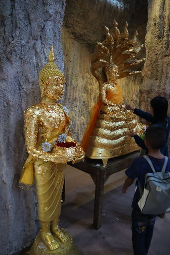 Statue Sculpture Place Of Worship Men Gold Colored Full Length Gold