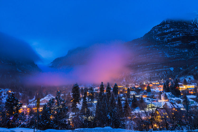 Looking out over the town of Ouray Colorado as a blanket of fog rolls in. Cold Temperature Fog Landscape Mountain Night Outdoors Sky Sky And Clouds Travel Destinations Winter