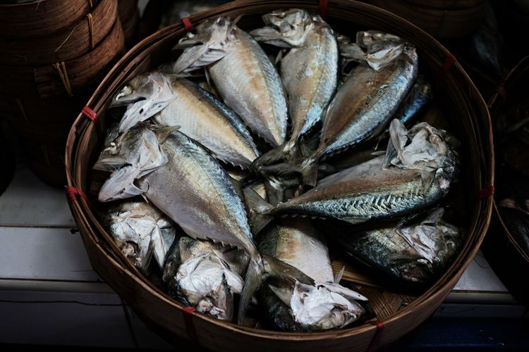 High angle view of fish for sale in basket