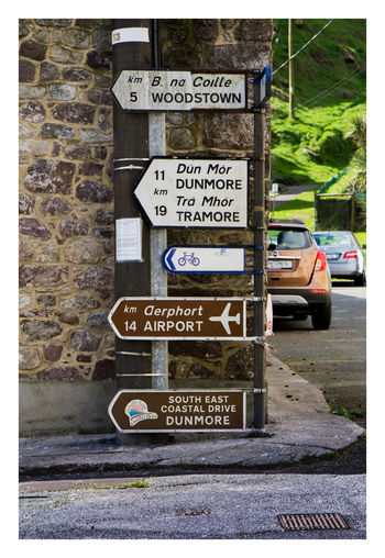 Directional Sign Dunmore East Signs Waterford Communication Day Guidance No People Outdoors Text Tramore Western Script Woodstown