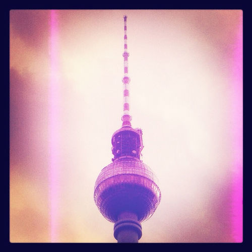 Low angle view of fernsehturm tower