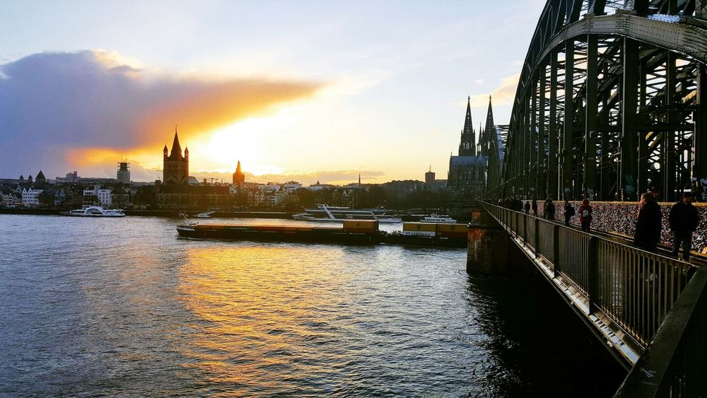 Köln City Politics And Government Water Cityscape Sunset Reflection Sky Architecture Building Exterior Built Structure Urban Skyline Skyscraper Boat River Downtown Tower Skyline Waterfront