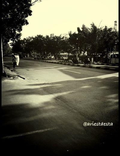an empty street...