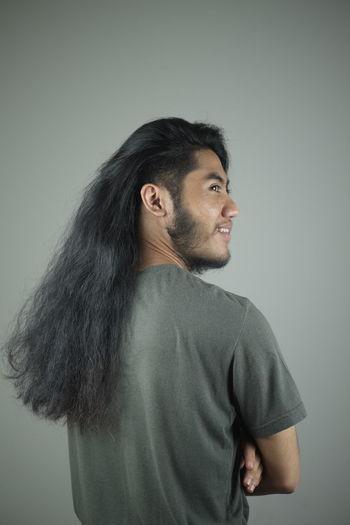 i do Long Hair Portrait Gray Background Studio Shot Beard Men Headshot Mature Men Pixelated Black Hair Colored Background Hair Toss