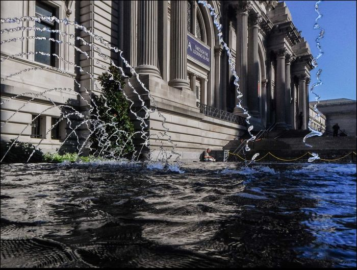 Metropolitan Museum w/ Fountain - 8/9/15 Early Morning Fountain Landmark Building Metropolitan Museum & Fountain - 8/9/15 Person Reading Quietly Splashing Spraying Stop Action Water