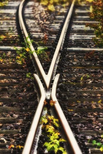 Close-up of railway tracks