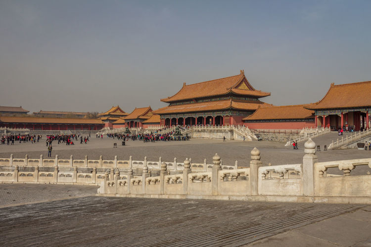 Nice view of the Forbidden city in Beijing Beijing Beijing, China Forbidden Forbidden City Architecture Sky Built Structure Building Exterior Travel Destinations Nature Clear Sky Building Travel Roof Religion Belief Tourism Place Of Worship Incidental People The Past Day History Outdoors Architectural Column