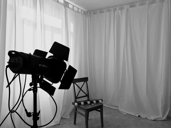 Studio Photography Themes Indoors  Film Industry Curtain Technology No People Camera - Photographic Equipment