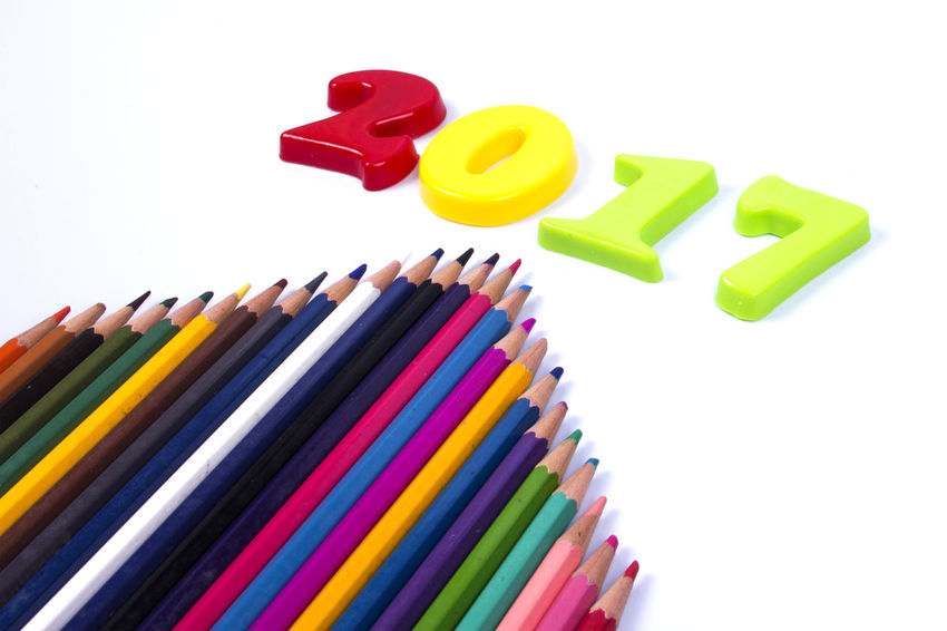 happy new year Block Calour Pencil Icon Multi Clou New Year No People Notebook Ruler
