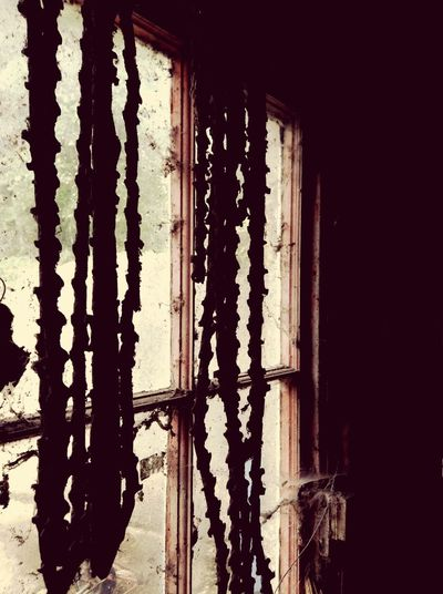 Rusty Chains Chains Infront Of Windows Chains Built Structure No People Day Wall - Building Feature Metal Indoors  Window Pattern Old