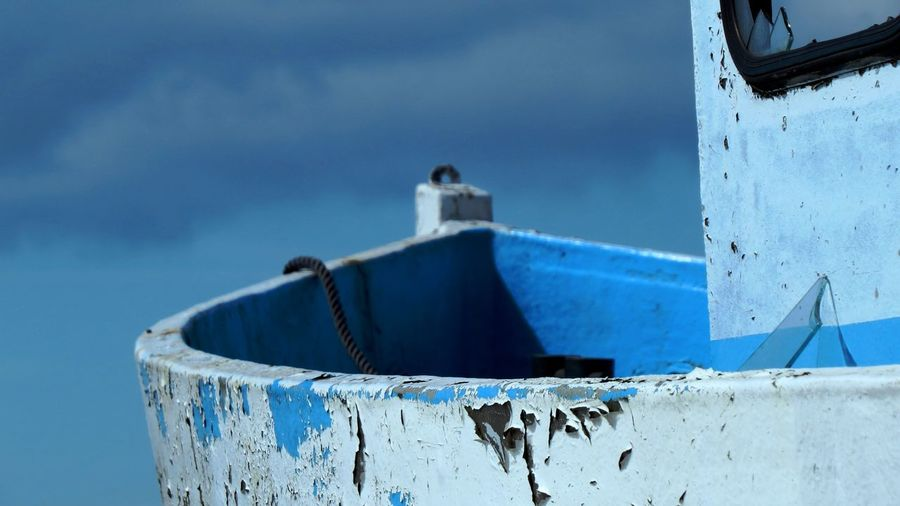 Blue Metal Focus On Foreground Day Nature Sky No People Water Close-up Nautical Vessel Transportation Mode Of Transportation Outdoors Moored Ship Strength Rope Old Rusty Cloud - Sky