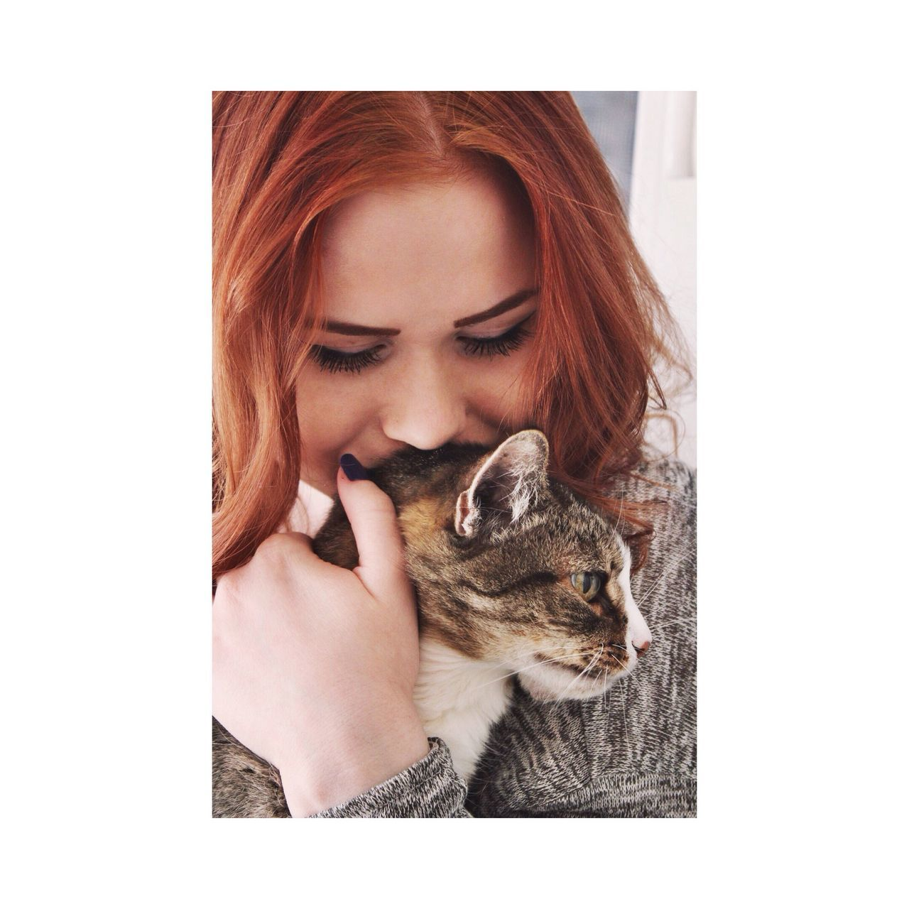 pets, one animal, eyes closed, mammal, animal themes, one person, domestic cat, domestic animals, young adult, indoors, sitting, young women, one young woman only, close-up, day, people