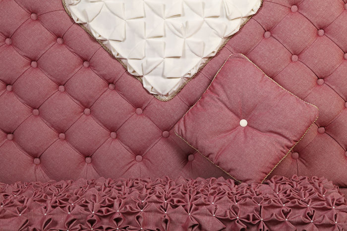 Pink, roze color luxury capitone sofa with pillow, Chesterfield style tufted buttoned fabric textile pattern Capitone Chesterfield Chesterfield Sofa Close-up Decoration Design Drapery Fabric Fabric Detail Fabric Texture Furniture Girly Home Interior Indoors  Luxury Pattern Pattern Pieces Pillow Pink Pink Color Premium Retro Retro Style Roze Sofa