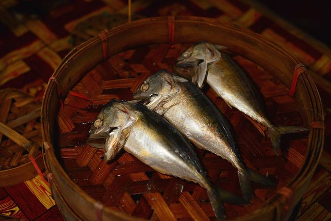 Seafood Fish No People Food And Drink Food Business Finance And Industry Freshness Close-up Day Mackerel Mackerel Fish Mackerel In Bamboo Basket Adventures In The City