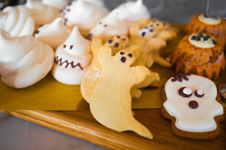 Ghost Halloween Trick Or Treat Trick Or Treating Celebration Close-up Cookie Dessert Food Food And Drink Indulgence No People Pumpkin Ready-to-eat Skull Sweet Food Table Temptation Unhealthy Eating