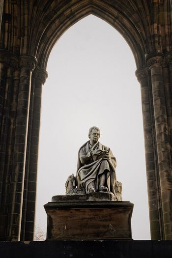 Statue Low Angle View Arch Sculpture History Travel Destinations Architecture Day Built Structure Outdoors Clear Sky Sky No People Scott Monument Sir Walter Scott Monument Edinburgh Scotland Monument Memorial
