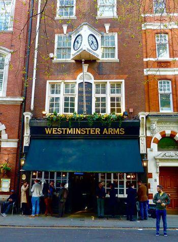 London Pub Westminster Arms Architecture Built Structure Building Exterior Travel Destinations Store Outdoors Tourist Women Leisure Activity Men City Day Adult People Adults Only