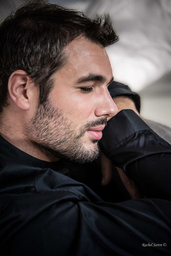 Beard Black Shirt Close-up Handsome Human Face One Man Only Tenderness And Warmth... Young Adult
