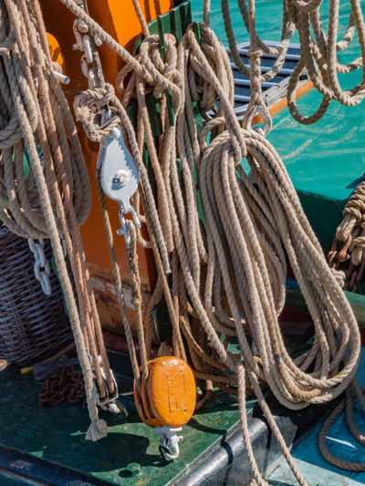 Close-Up Of Rope Tied To Boat