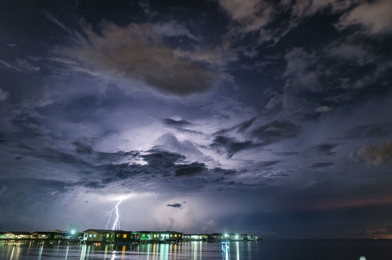 Low Angle View Of Storm Clouds Over Sea