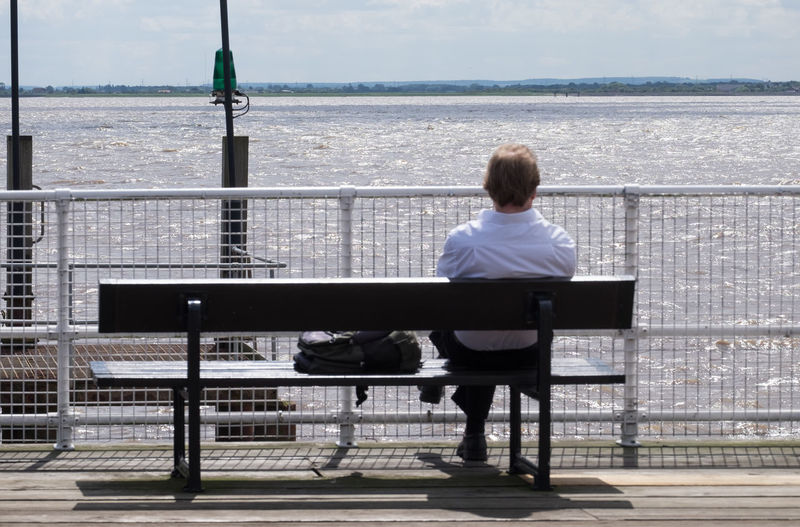 Rear View Of Man Sitting On Bench Against Sea