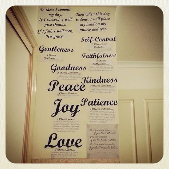 Gentleness Selfcontrol Faithfulness  Goodness kindnesspeacepatiencejoylovemywallroomdecorquotesprayer