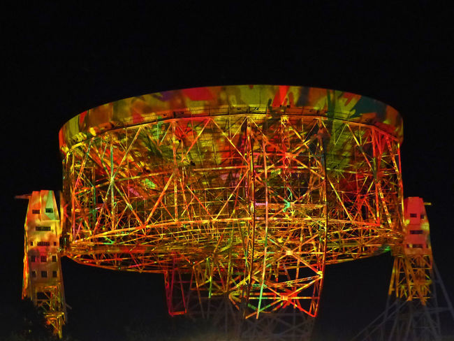 Floating telescope in camouflage Black Background Camouflage Camouflage Color Close-up Dark Floating Glowing Illuminated Jodrell Bank Light Lovelltelescope Multi Colored Music Festival Night No People Observatory Red Showcase July