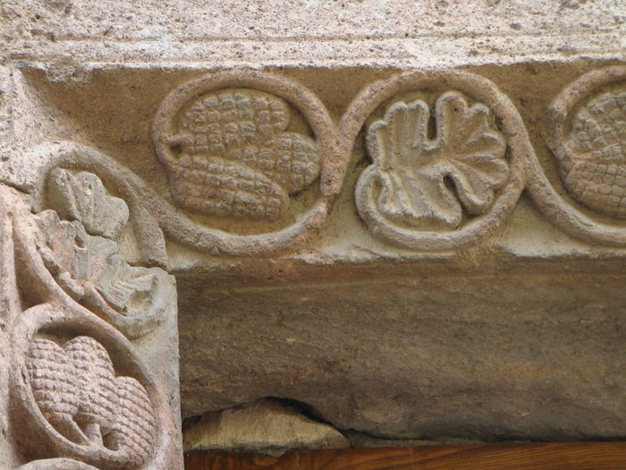 Hand Made Art Story Armenia Religion Angle Of A Stone Door Pink Stone Engraved Stones Decorations Bas Relief Day Figure Of Corn Figure Of Leaf No People Outdoors Sculpture Sculpted Carving Church Spirituality