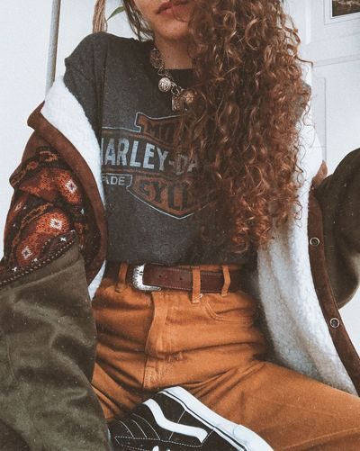 Casual Clothing Brown Mustard Denim Vans Leather Belt Harley Davidson Ayla Eulalia Instagrammer Curly Girl Earthy Tones Highwaisted Curlyhair Afterlight Retro Style Vintage Style Ootd Arizona Vintage Vintage People Adult Women Casual Clothing Clothing