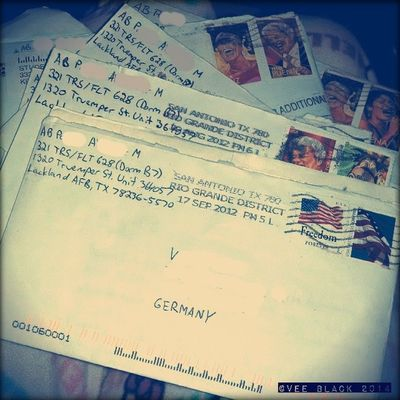 We don't write or get letters that much these days. I was glad that writing letters was at least a chance to 'talk' to and support my boyfriend when he was in basic training for the Air Force. Belated photo challenge pic for day 12. Letter Day12 Marchphotochallenge 2014 bmt af boyfriend love usa