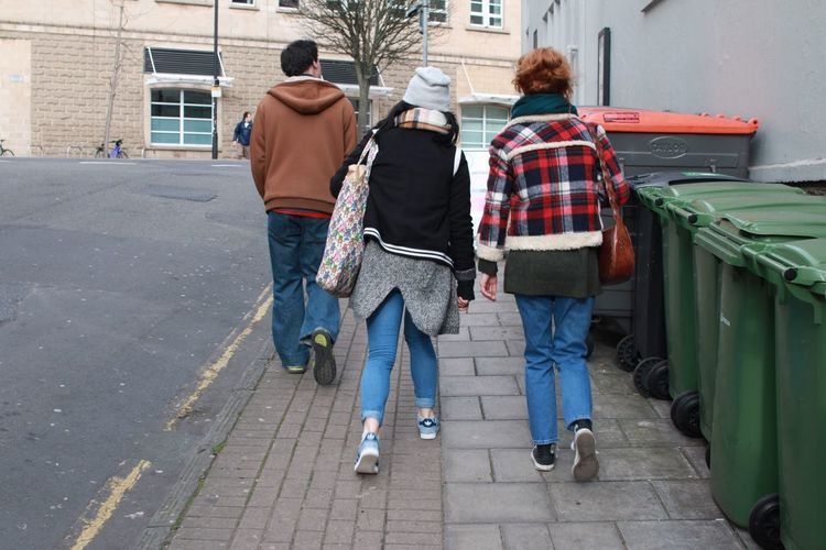 Adult Bin Bristol City Fashion Friends Friendship Full Length Lifestyles Moment Outdoors Pavement People Rear View Sidewalk Street Streetphotography Three Together Togetherness Uphill Walk Walking Walking Around Walking Around The City