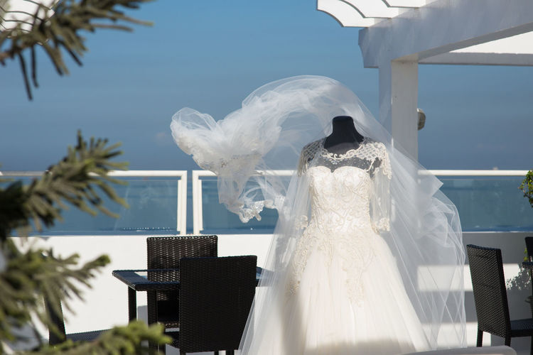 Wedding dress Wedding Dramatic Sky White Background Celebration Marriage  Ceremony White Costume White Color Day Nature No People Sky Animal Themes Event Bird Animal Tree Life Events Outdoors Wedding Dress Religion Belief Wedding Ceremony Windy