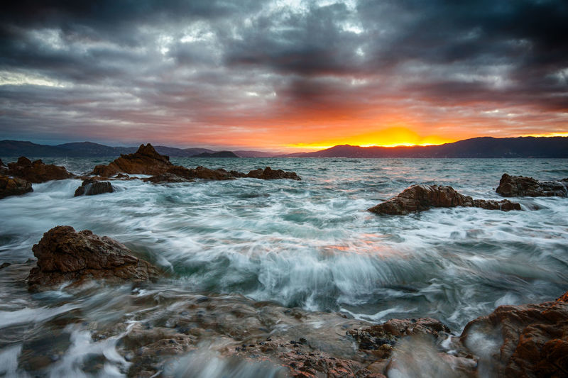 Early morning sunrise from one of the bays in Wellington Harbour. Cloud Cloud - Sky Clouds Cloudy Dramatic Sky Moody Sky Morning Nature Orange Color Outdoors Overcast Rock - Object Sea Seascape Sunrise Water Wave Waves Weather