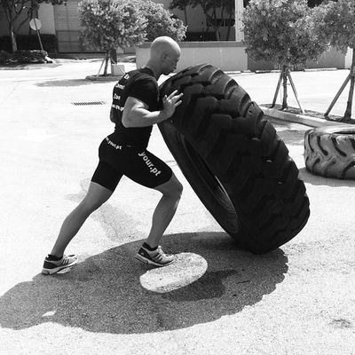 """Lead by example!"" Tireflips Crossfit Urban Exitcomfortzone outdoors"