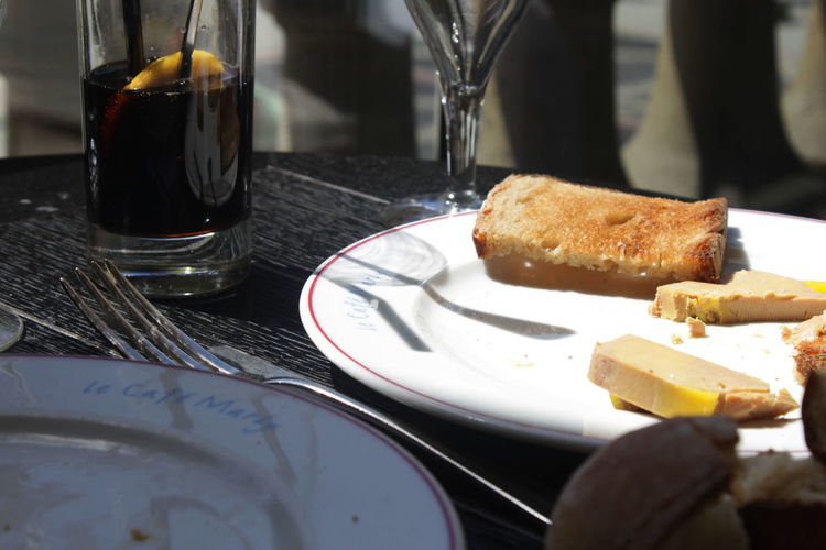 Lunch in Paris Breakfast Close-up Drink Drinking Glass Focus On Foreground Food Food And Drink Fork Freshness Indoors  Indulgence Pate Plate Ready-to-eat Refreshment Restaurant Serving Size Still Life Sweet Food Table Toast Unhealthy Eating