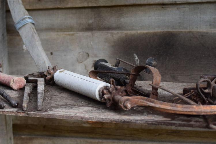 Close-up of rusty machine