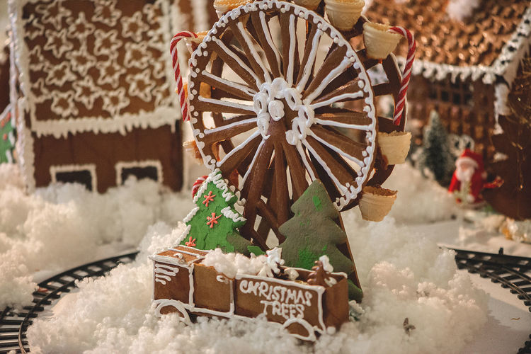 Close-up of gingerbread house during christmas
