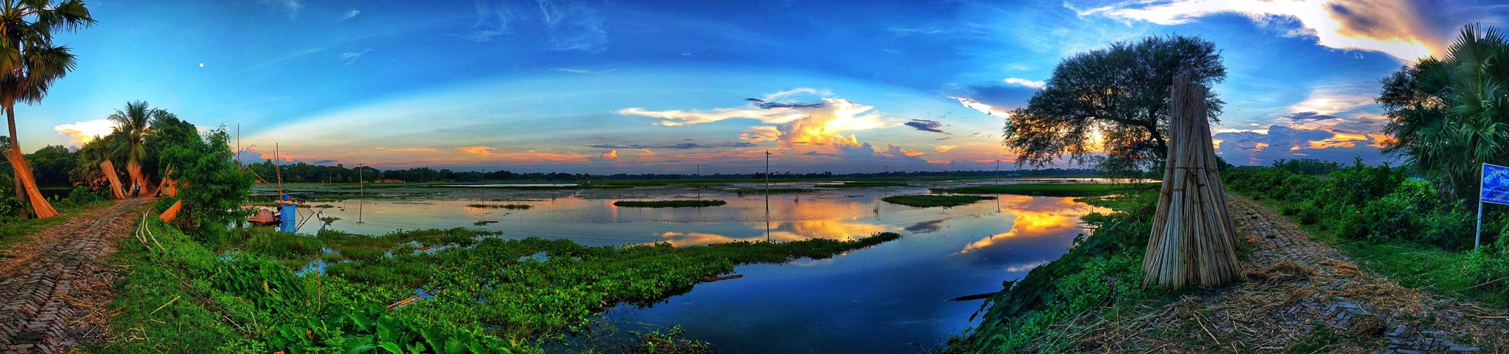 Reflection Water Sky Tranquil Scene Cloud - Sky Tree Nature Beauty In Nature Tranquility Scenics Lake Outdoors No People Sunset Panoramic Growth Landscape Grass Day EyeEmNewHere @anickchowdhurymp Eyeembangladesh Mobilephotography