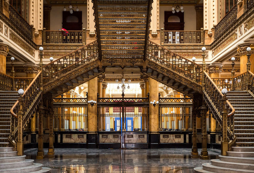 Adamo Boari Df Golden Magnificent Palacio Postal Postal Palace Quinta Casa Correos Tourist Attraction  Architecture Built Structure Cdmx Day Eclectic Goverment  History Indoors  Interior Marvelous No People Old Buildings Post Office Staircase