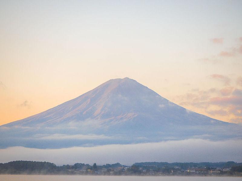 Fuji Landscape Fuji Mountain Fuji Lake Japan Beauty In Nature Day Fog Mountain Nature No People Outdoors Sky Sunrise Sunset