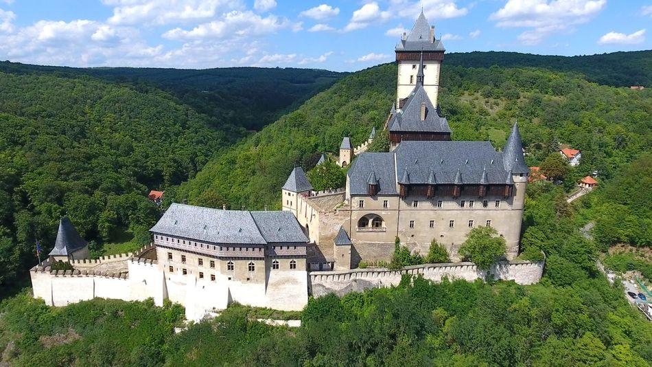 Castle Czech Republic Historical Building Aerial View Architecture Day Drone View Karlstejn Landmark Landscape Medieval Nature Outdoors Town