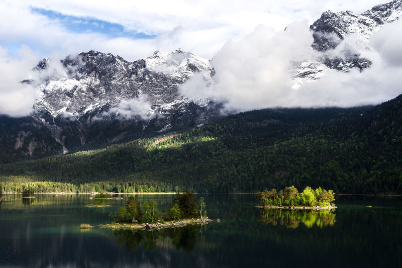 Scenic view of eibsee lake by mountains