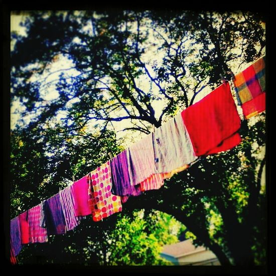 They remind me of prayer flags, so today that's what they are. Then back to dish towels. Hanging Out