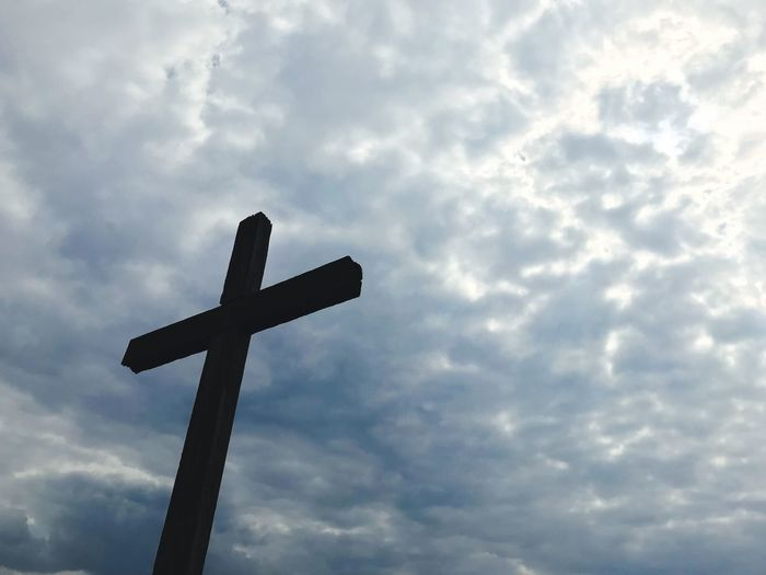 Cloud - Sky Sky Low Angle View Religion Belief Cross Spirituality No People Day Nature Cross Shape Outdoors Sign Symbol Cloudscape Architecture Metal