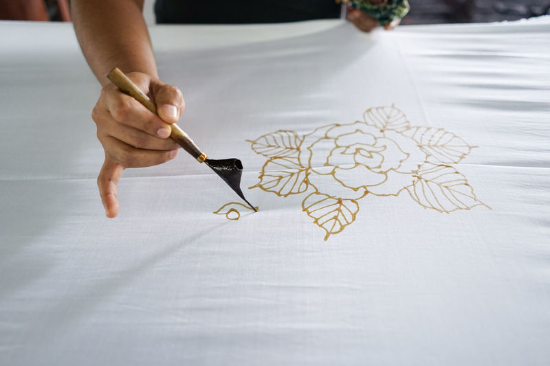 High angle view of batik being made