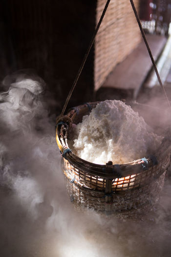 Asian Food Basket Boiling Burning Close-up Container Food Food And Drink Freshness Hanging Heat - Temperature Household Equipment Kitchen Utensil Nature No People Outdoors Preparation  Preparing Food Smoke - Physical Structure Steam