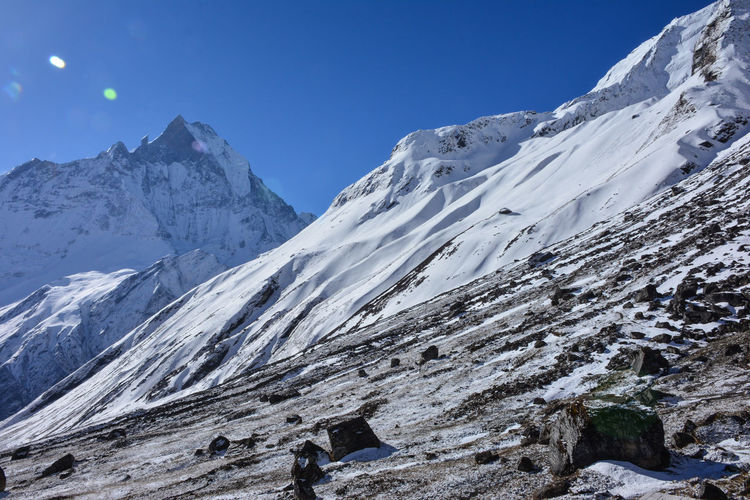 Scenic view of snowcapped mountains against clear sky , machapuchare, annapurna