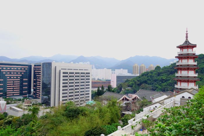 Architecture Building Chinese City Day Geometry Highrise HongKong Modern Mountains New Old Outdoors Roof Shapes Shatin Sky Tower Traditional Travel Trees Urban Landscape Landscapes With WhiteWall The Architect - 2016 EyeEm Awards